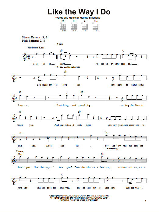 Tablature guitare Like The Way I Do de Melissa Etheridge - Tablature guitare facile
