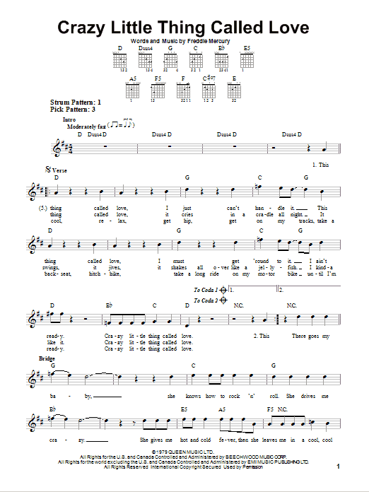 Tablature guitare Crazy Little Thing Called Love de Queen - Tablature guitare facile