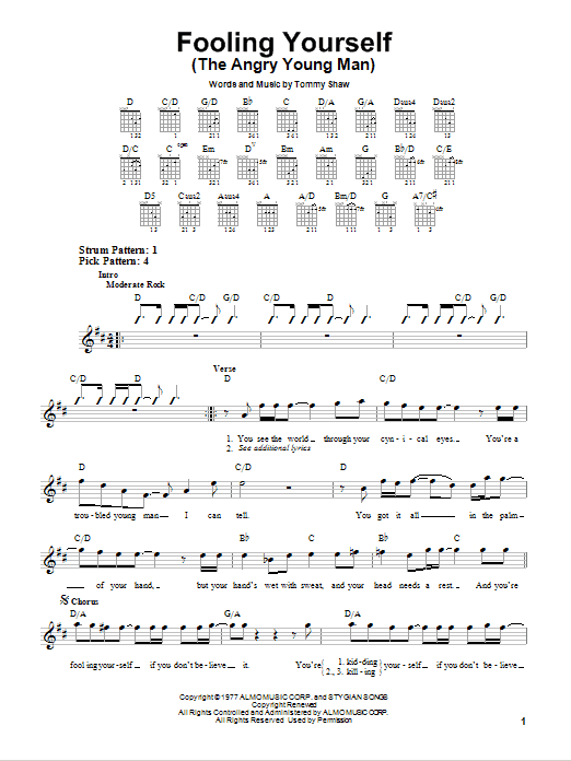 Tablature guitare Fooling Yourself (The Angry Young Man) de Styx - Tablature guitare facile