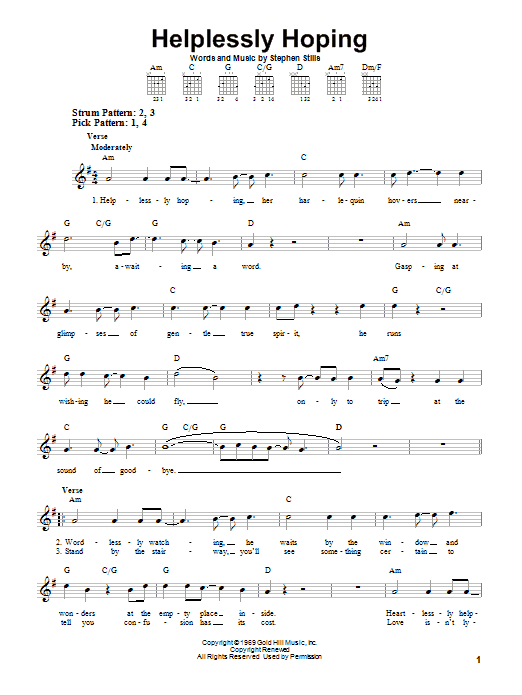 Tablature guitare Helplessly Hoping de Crosby, Stills & Nash - Tablature guitare facile