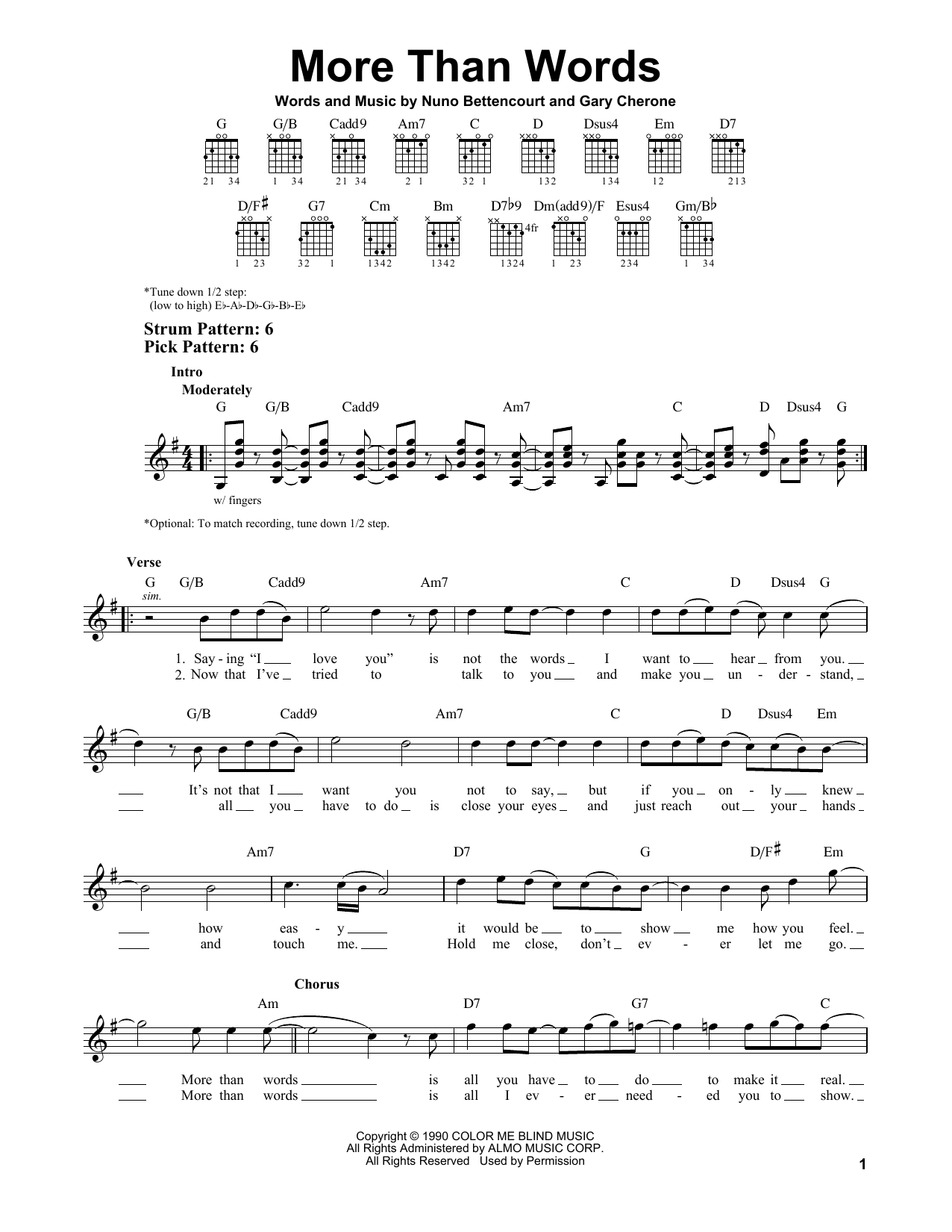More Than Words sheet music by Extreme (Easy Guitar – 79218)