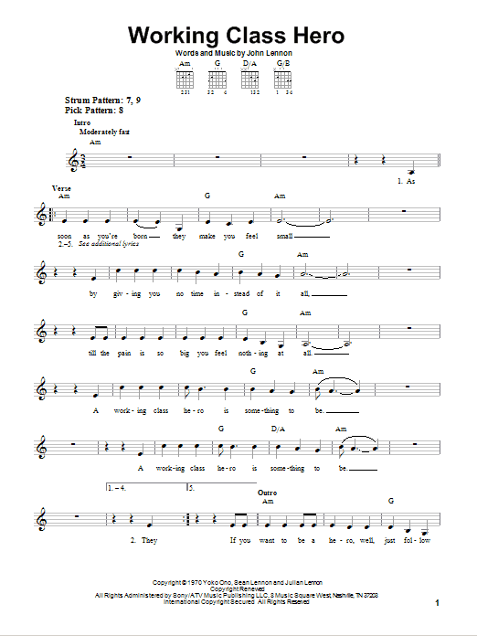 Working Class Hero Sheet Music