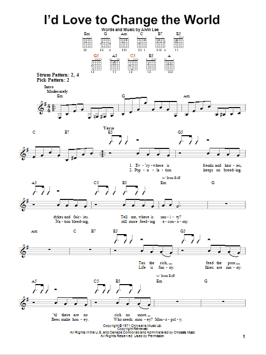 Tablature guitare I'd Love To Change The World de Ten Years After - Tablature guitare facile