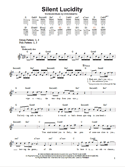 Tablature guitare Silent Lucidity de Queensryche - Tablature guitare facile