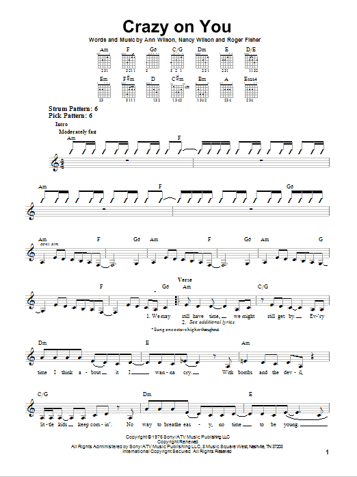 Tablature guitare Crazy On You de Heart - Tablature guitare facile
