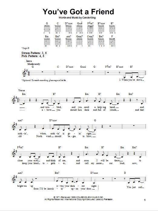 Tablature guitare You've Got A Friend de James Taylor - Tablature guitare facile