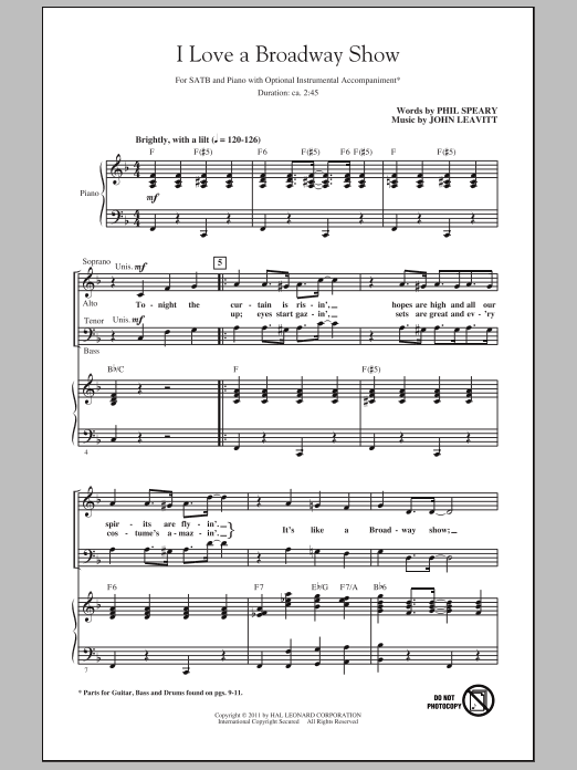 Partition chorale I Love A Broadway Show de John Leavitt - SATB