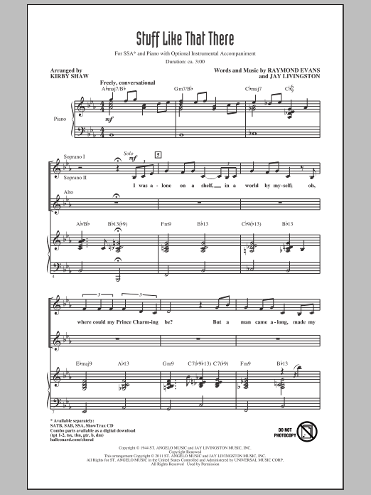 Stuff Like That There (arr. Kirby Shaw) (SSA Choir)