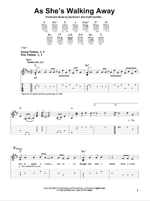 Tablature guitare As She's Walking Away de Zac Brown Band featuring Alan Jackson - Tablature guitare facile