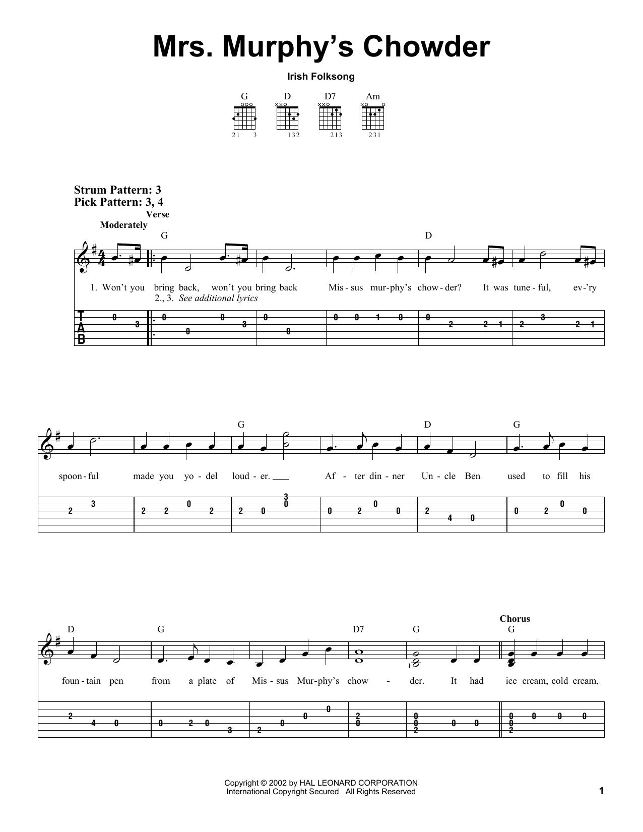 Tablature guitare Mrs. Murphy's Chowder de Irish Folksong - Tablature guitare facile