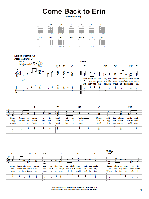 Tablature guitare Come Back To Erin de Irish Folksong - Tablature guitare facile