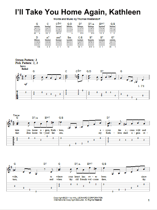 Tablature guitare I'll Take You Home Again, Kathleen de Thomas Westendorf - Tablature guitare facile