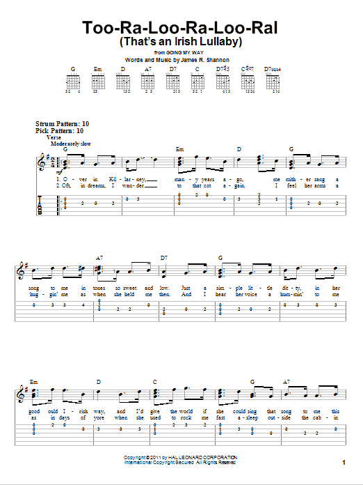 Too-Ra-Loo-Ra-Loo-Ral (That's An Irish Lullaby) (Easy Guitar Tab)
