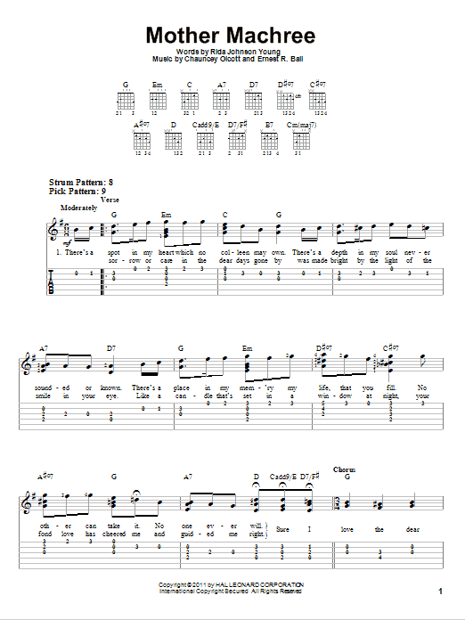 Tablature guitare Mother Machree de Chauncey Olcott - Tablature guitare facile