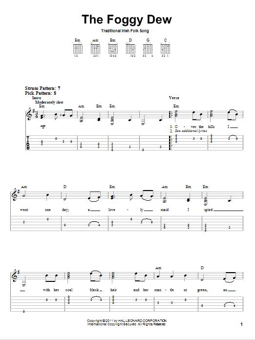 Tablature guitare The Foggy Dew de Irish Folksong - Tablature guitare facile