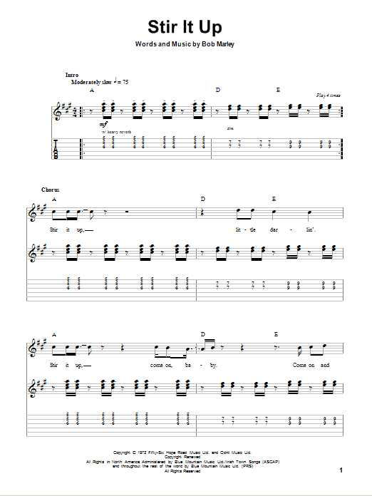 Tablature guitare Stir It Up de Bob Marley - Autre