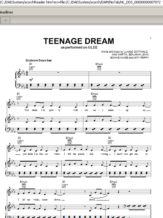 Teenage Dream | Sheet Music Direct
