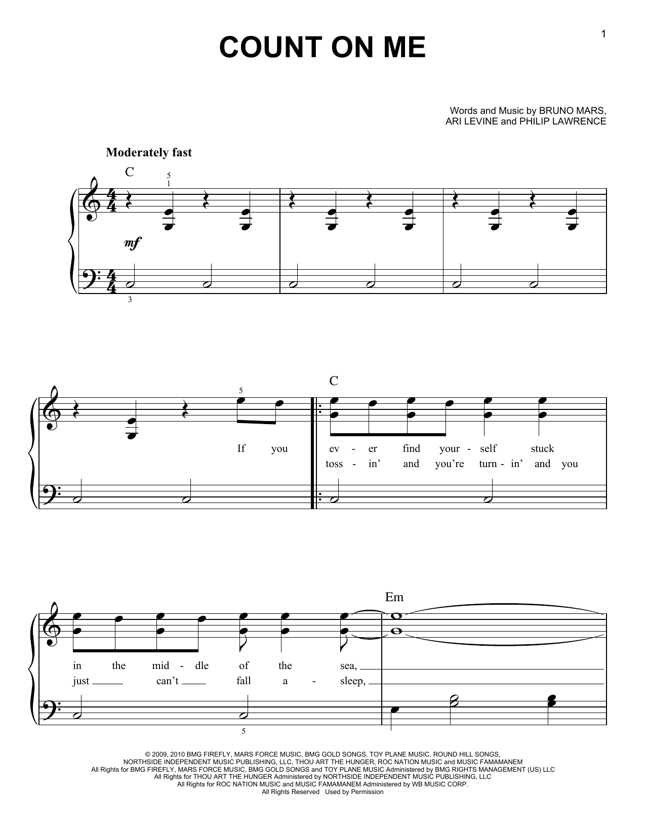 Bruno Mars - Doo-Wops & Hooligans Songbook: Easy Piano