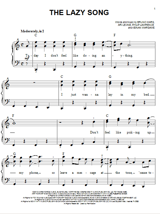 Ukulele ukulele chords lazy song easy : The Lazy Song sheet music by Bruno Mars (Easy Piano – 80514)