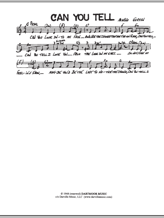 Can You Tell (Lead Sheet / Fake Book)