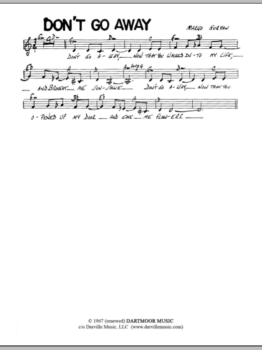 Don't Go Away (Lead Sheet / Fake Book)