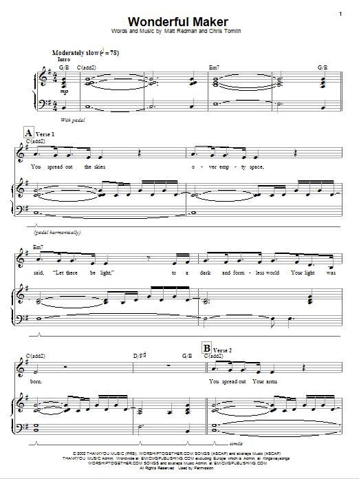 Wonderful Maker (Piano & Vocal)