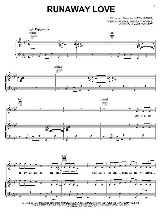 Partition piano Runaway Love de Justin Bieber - Piano Voix Guitare (Mélodie Main Droite)