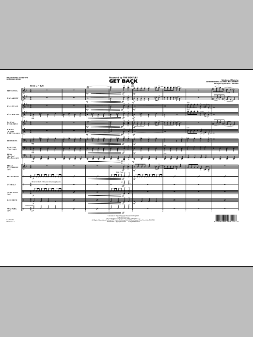 Get Back (COMPLETE) sheet music for marching band by Michael Brown, John Lennon, Paul McCartney and The Beatles. Score Image Preview.