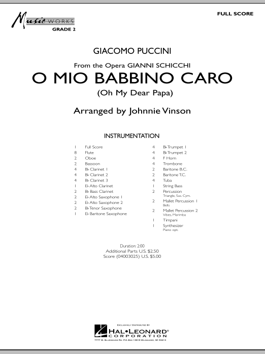 O Mio Babbino Caro - Full Score (Concert Band)