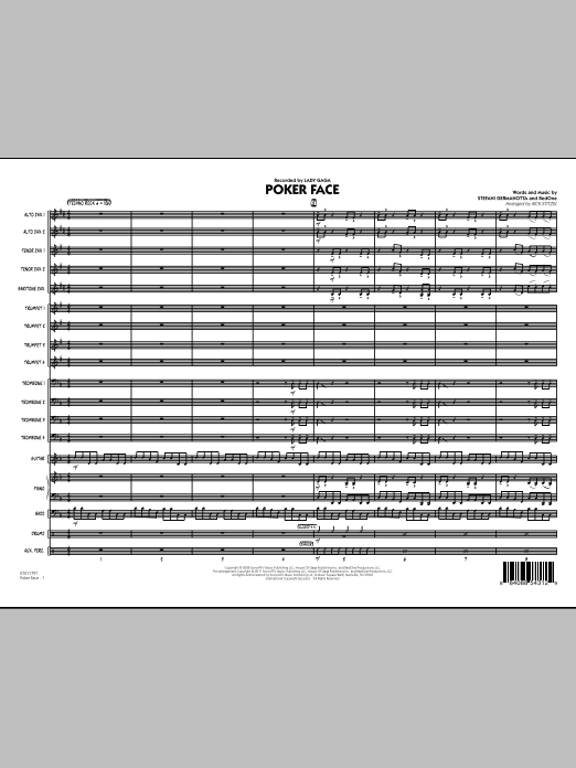 Poker Face (COMPLETE) sheet music for jazz band by Rick Stitzel, Lady GaGa and RedOne. Score Image Preview.
