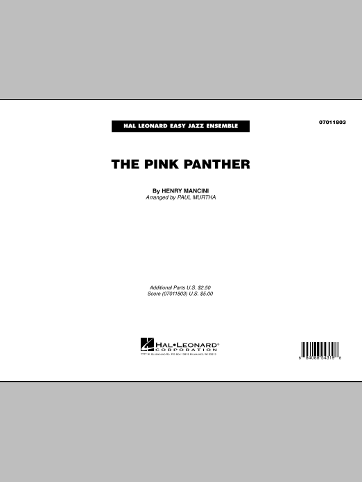 The Pink Panther (COMPLETE) sheet music for jazz band by Paul Murtha and Henry Mancini. Score Image Preview.