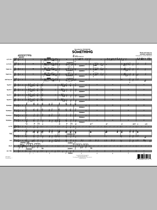 Something (COMPLETE) sheet music for jazz band by John Wasson, George Harrison and The Beatles. Score Image Preview.