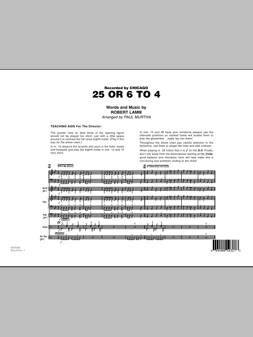 25 Or 6 To 4 (COMPLETE) sheet music for jazz band by Paul Murtha, Chicago and Robert Lamm. Score Image Preview.