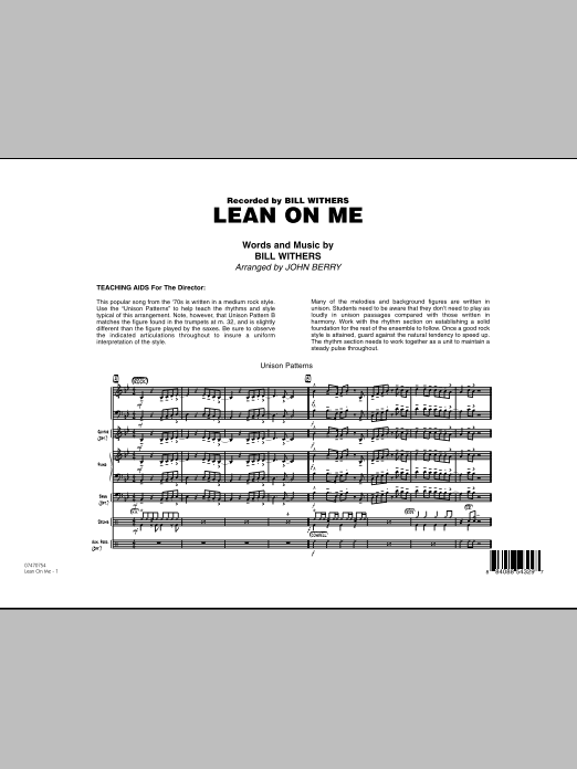 Lean On Me (COMPLETE) sheet music for jazz band by John Berry and Bill Withers. Score Image Preview.