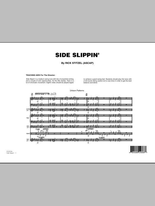 Side Slippin' (COMPLETE) sheet music for jazz band by Rick Stitzel. Score Image Preview.