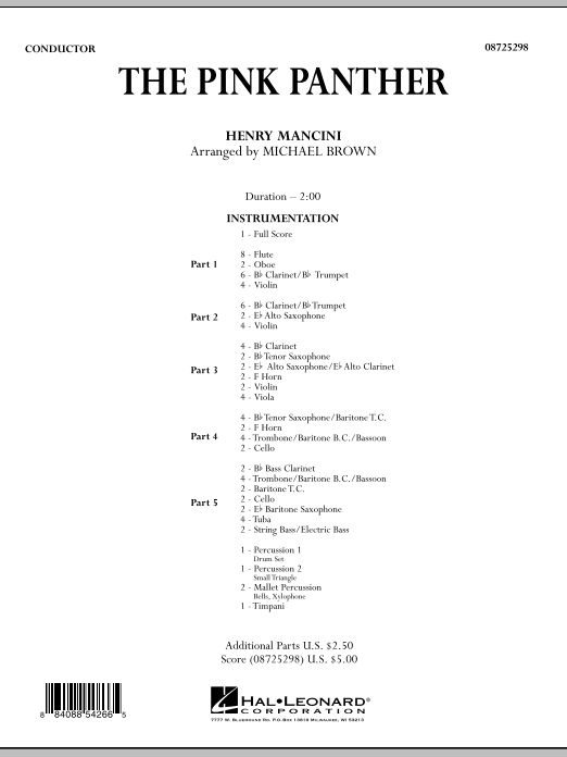 The Pink Panther, complete collection (COMPLETE) sheet music for concert band by Henry Mancini and Michael Brown. Score Image Preview.