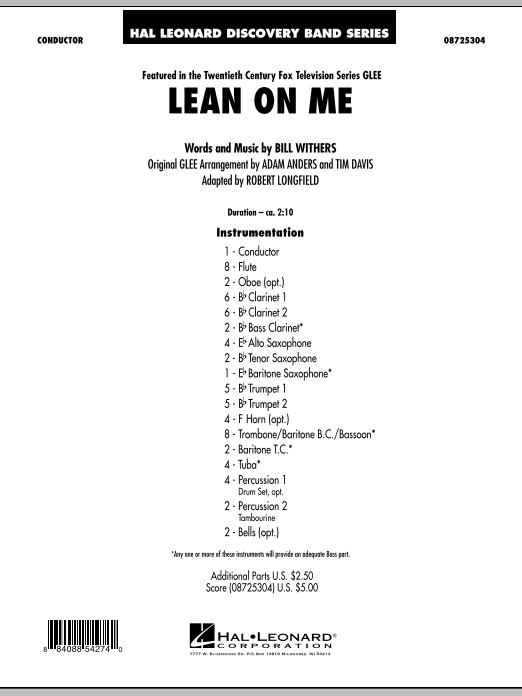 Lean On Me (COMPLETE) sheet music for concert band by Bill Withers and Robert Longfield. Score Image Preview.