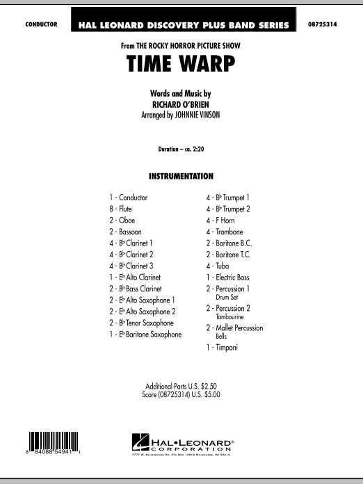 """Time Warp (from """"The Rocky Horror Picture Show"""") - Full Score (Concert Band)"""