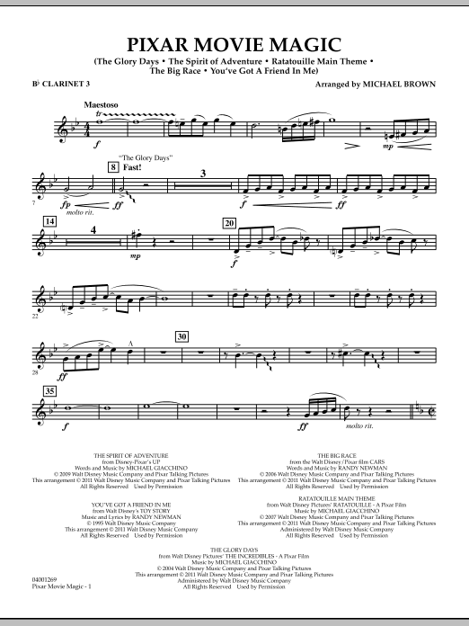 Pixar Movie Magic - Bb Clarinet 3 (Concert Band)