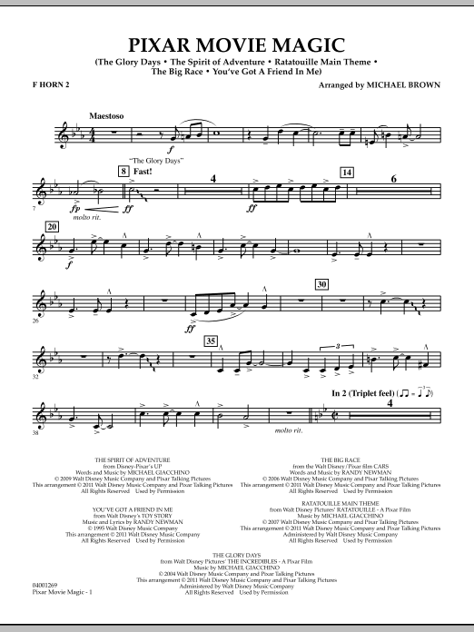 Pixar Movie Magic - F Horn 2 (Concert Band)