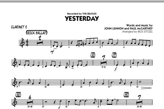 Yesterday Bb Clarinet 2 By John Lennon Paul Mccartney Rick Stitzel The Beatles John Lennon Paul Mccartney Hal Leonard Prima Music