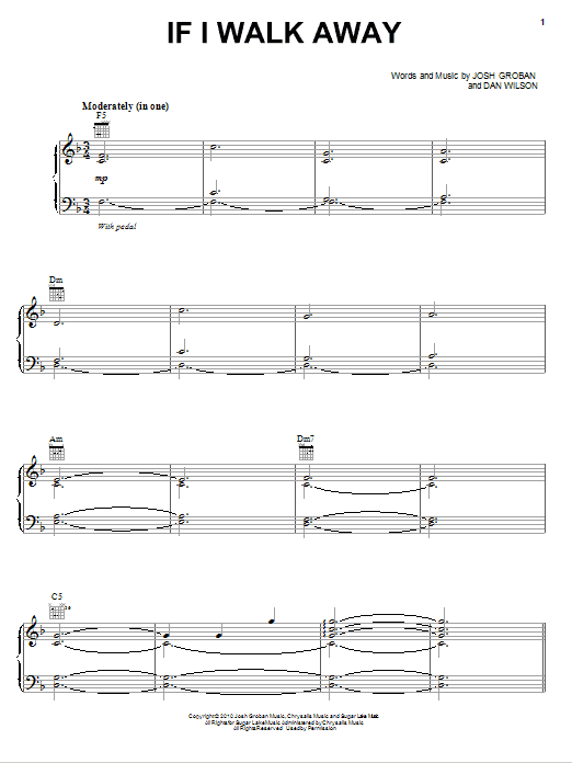 If I Walk Away Sheet Music
