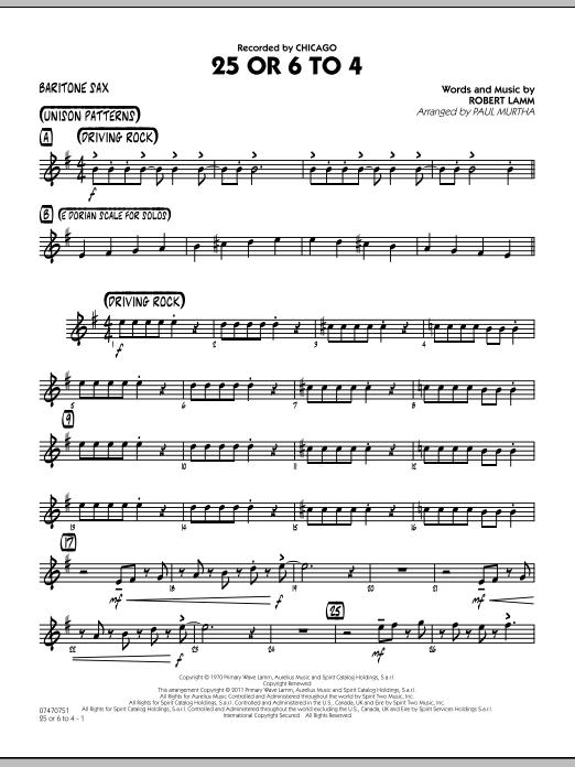 25 Or 6 To 4 - Baritone Sax (Jazz Ensemble)