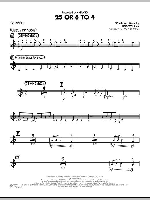 25 Or 6 To 4 - Trumpet 3 (Jazz Ensemble)