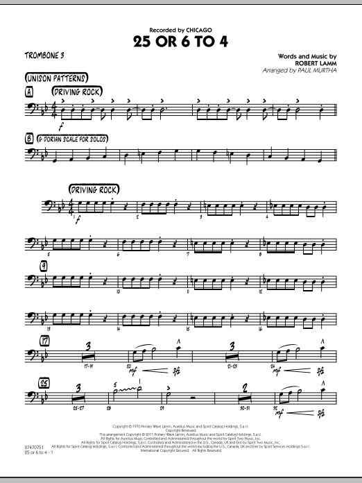 25 Or 6 To 4 - Trombone 3 (Jazz Ensemble)