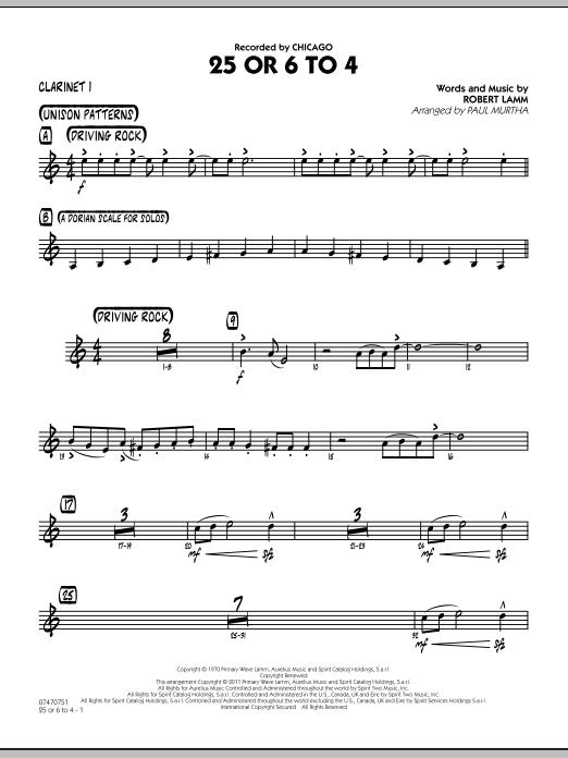25 Or 6 To 4 - Bb Clarinet 1 (Jazz Ensemble)