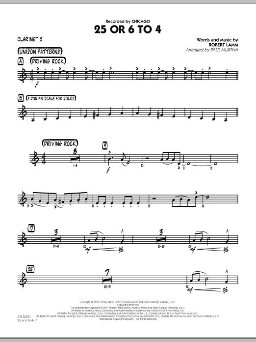 25 Or 6 To 4 - Bb Clarinet 2 (Jazz Ensemble)