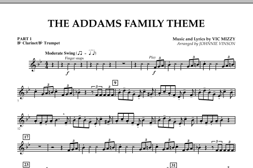 The Addams Family Theme - Pt.1 - Bb Clarinet/Bb Trumpet (Concert Band)