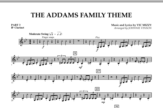 The Addams Family Theme - Pt.3 - Bb Clarinet (Concert Band)