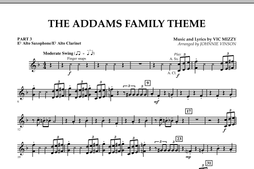 The Addams Family Theme - Pt.3 - Eb Alto Sax/Alto Clar. (Concert Band)